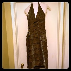 Cache copper halter cocktail dress size 6